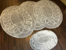 ROMANY WASHABLES OVAL DESIGNS SETS OF 4 MATS XLARGE SIZE 100X140CM SILVER/GREY